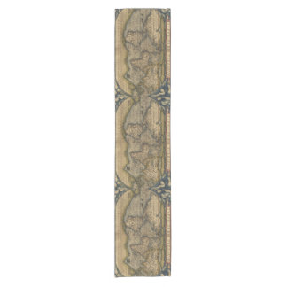 Vintage World Map Atlas Historical Design Short Table Runner