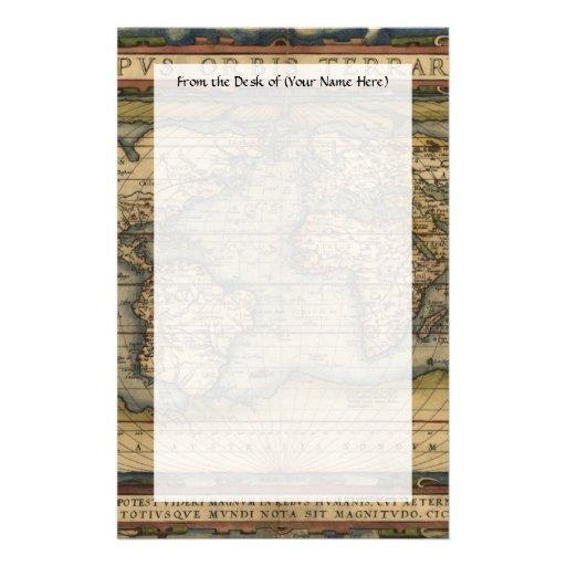 Vintage World Map Atlas Historical Design Customized Stationery