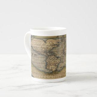 Vintage World Map Atlas Historical Design Tea Cup