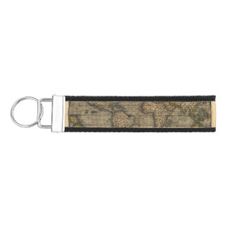 Vintage World Map Atlas Historical Design Wrist Keychain