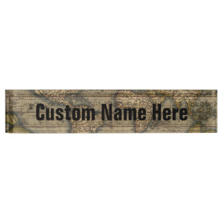 Vintage World Map Atlas Historical Desk Name Plate