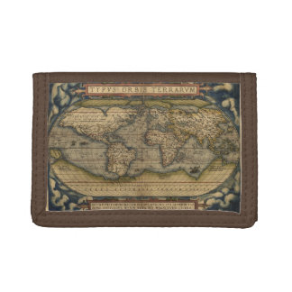Vintage World Map Atlas Historical Tri-fold Wallet