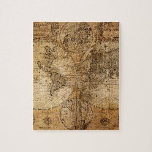 Vintage World Map Atlas Jigsaw Puzzles