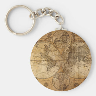Vintage World Map Atlas Keychain