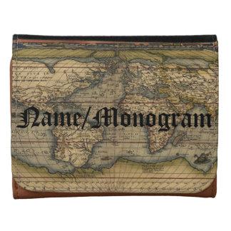 Vintage World Map Atlas Monogrammed Leather Leather Tri-fold Wallet