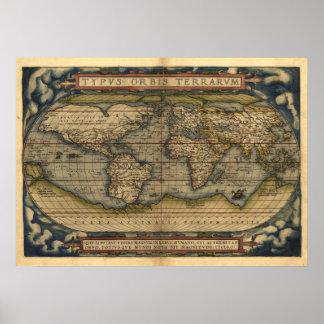 Vintage World Map Atlas TYPVS ORBIS TERRARVM Poster