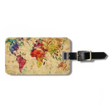 watercoloring Vintage world map bag tag