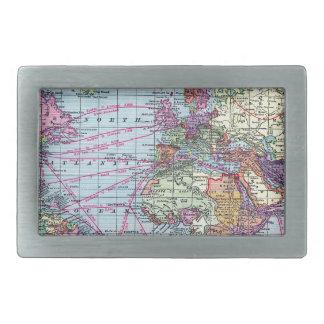 Vintage world map belt buckle