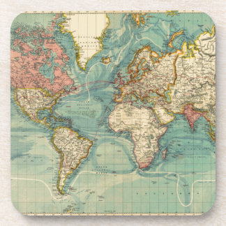 Vintage World Map Beverage Coaster