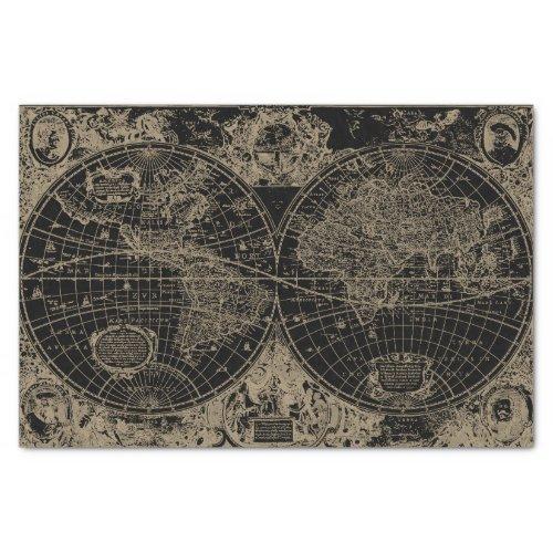Vintage World Map Black Beige Decoupage Tissue Paper
