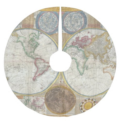 Vintage World Map Brushed Polyester Tree Skirt