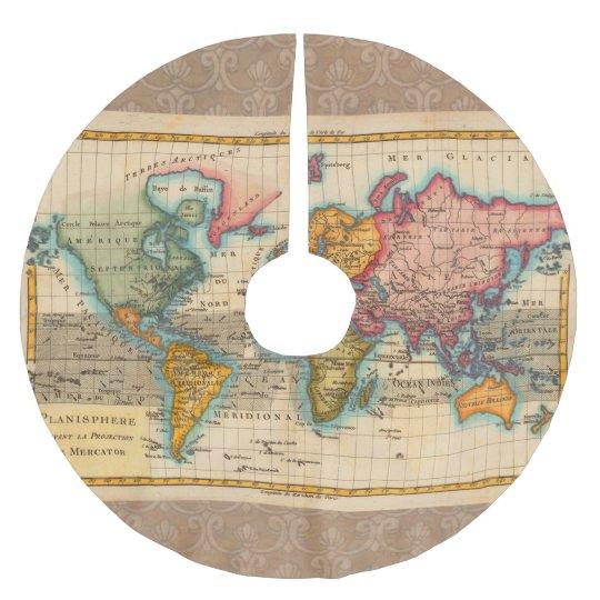 Vintage World Map Brushed Polyester Tree Skirt Zazzle Com