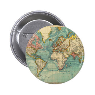Vintage World Map Button