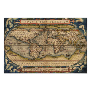 Vintage World Map by Abraham Ortelius 1564 Poster