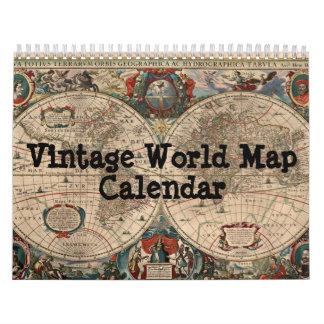 Vintage World Map Calendar