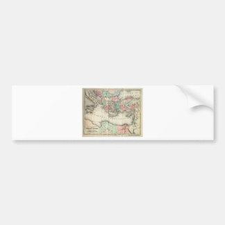 Vintage World Map Canvas Artwork Bumper Stickers
