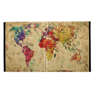 Vintage world map iPad folio cover