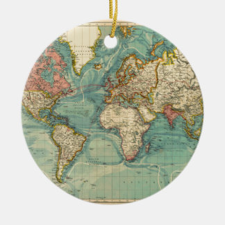 Vintage World Map Ceramic Ornament