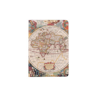 Vintage World Map Circa 1600 Passport Holder