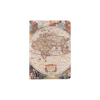 Vintage World Map Circa 1600 Passport Holder