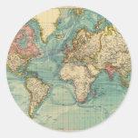 Vintage World Map Classic Round Sticker