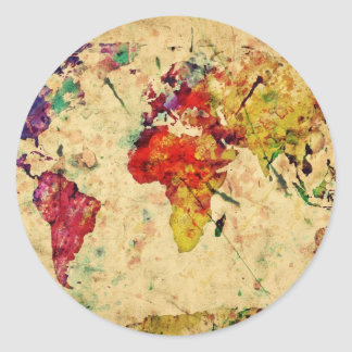 Vintage world map classic round sticker