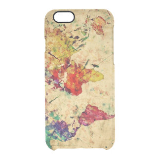 Vintage world map clear iPhone 6/6S case