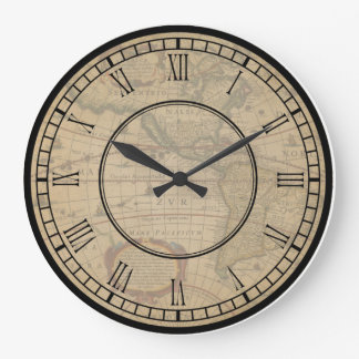 vintage world map clock watch