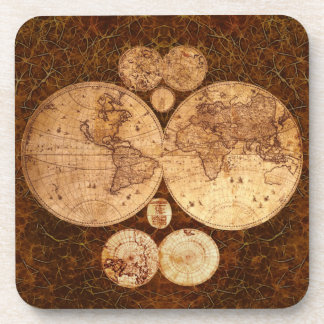 Vintage World Map Cork Coasters