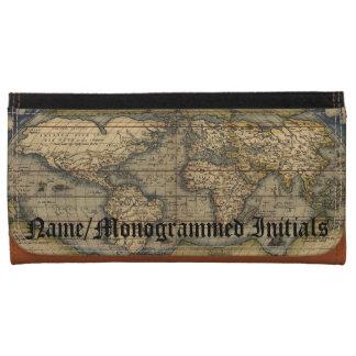 Vintage World Map Custom Leather Checkbook Leather Wallet