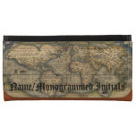 Vintage World Map Custom Leather Checkbook Women's Wallets