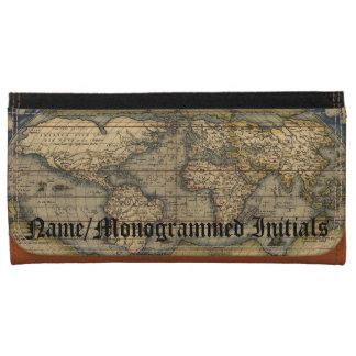 Vintage World Map Custom Leather Checkbook Leather Wallet