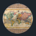 "Vintage World Map Dart Board<br><div class=""desc"">World Map -- the Planisphere A highly colorful world map from the 1700s, this world map print is from an authentic map originally published in 1780. It shows the world in vibrant full color. The world map continents are quite well rendered for being drawn 250 years ago. This beautiful world...</div>"