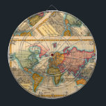 """Vintage World Map Dartboard<br><div class=""""desc"""">World Map -- the Planisphere A highly colorful world map from the 1700s, this world map print is from an authentic map originally published in 1780. It shows the world in vibrant full color. The world map continents are quite well rendered for being drawn 250 years ago. This beautiful world...</div>"""