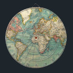 "Vintage World Map Dartboard With Darts<br><div class=""desc"">Vintage Maps - World Map from 20th Century</div>"