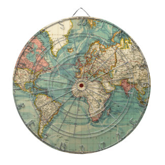 Vintage World Map Dartboard With Darts