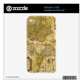 Vintage World Map Decal For iPhone 4