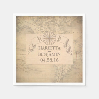 Vintage World Map Destination Wedding Napkin