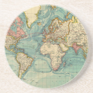 Vintage World Map Drink Coaster