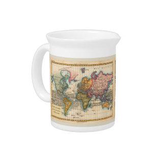 Vintage World Map Drink Pitchers