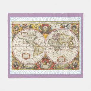 World map fleece blankets zazzle vintage world map fleece blanket gumiabroncs Images