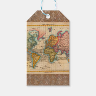 World map gift tags zazzle vintage world map gift tags gumiabroncs