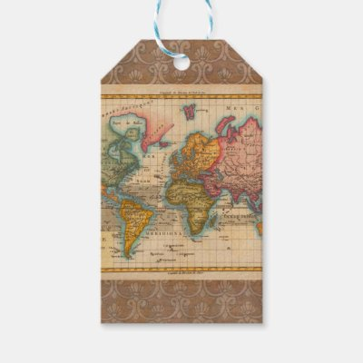 Vintage world map 1910 gift tags zazzle gumiabroncs Gallery