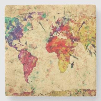 Vintage world map stone beverage coaster
