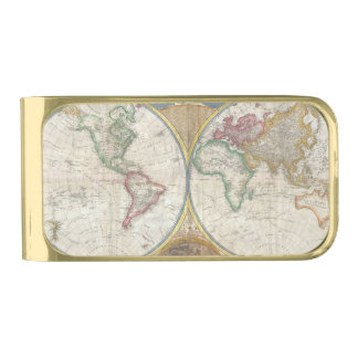 Vintage World Map Gold Finish Money Clip
