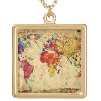 Vintage world map gold plated necklace