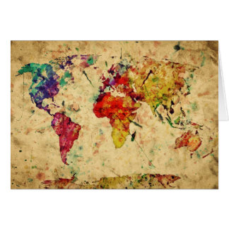Vintage world map greeting cards