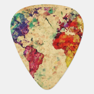 Vintage world map guitar pick