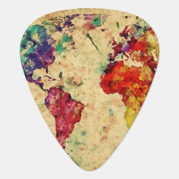 Vintage World Map Guitar Pick by watercoloring at Zazzle