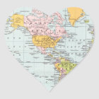 Vintage World Map Heart Sticker
